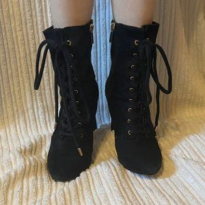 Inc High Heeled Black Suede Boots Size 8
